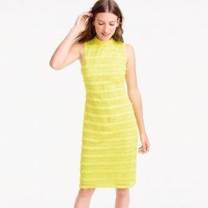 J. Crew Fringe Dot Dress Yellow Citron Sz 8 EUC